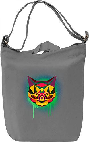 Funky Cat Head Borsa Giornaliera Canvas Canvas Day Bag| 100% Premium Cotton Canvas| DTG Printing|