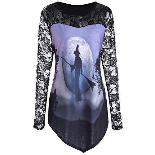 Halloween Lace Insert Shirt Top,Women Pumpkin Design T-Shirt Blouse ()