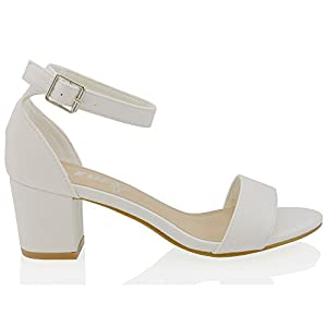 Womens Low Mid Heel Block Peep Toe Ladies Ankle Strap Party Strappy Sandals Shoes Size 3 4 5 6 7 8