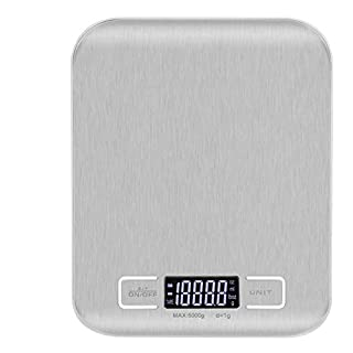 Digital Food Scale for Baking and Cooking, Small, Stainless Steel Electronic Kitchen Scale
