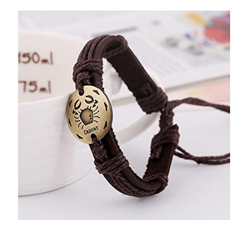 Fariishta Jewelry Handmade Cancer Constellation Genuine Leather Wrap Bracelet