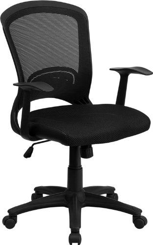 Flash Furniture Mid-Back Designer Black Mesh Swivel Task Chair with Arms (Super Discount Furniture)