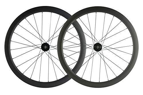 SUPERTEAM Carbon Fiber Disc Brake Wheelset 700c Road Wheel 25mm Width UD Matt 30/40/45/55mm (45mm, CX3 Hub Center Lock 12100-12142mm Thrux Axle) (Best Aero Disc Road Bike)