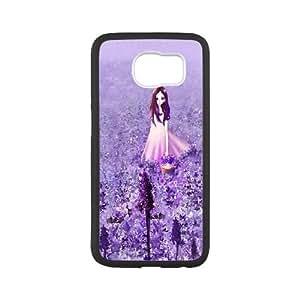 Samsung Galaxy S6 Cell Phone Case Black_Anime Cute Girl In Purple Flower Garden TR2355066