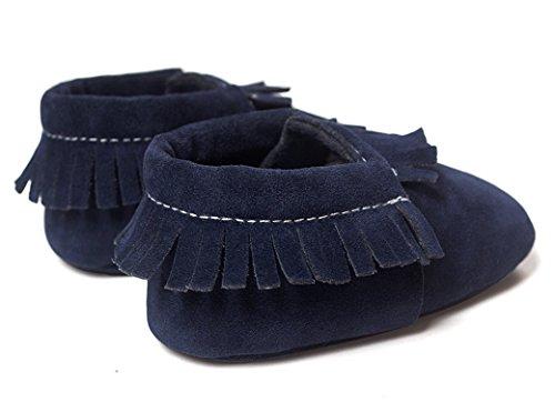 Happy Cherry Zapatos Zapatitos Calzado Infantil Suela Suave Borlas Primeros Pasos Botas Para Bebés Niños Longitud 13cm Talla EU 21 Color Gris Azul