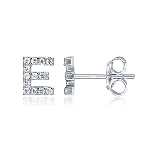 PAVOI 925 Sterling Silver CZ Simulated Diamond Stud Earrings Fashion Alphabet Letter Initial Earrings - E (E Earrings)