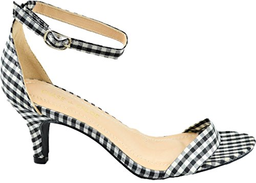 Chase & Chloe Kira-en Låg Klack Sandal Med Täckt Ankelspänne Rem Svart / Vit Rutig
