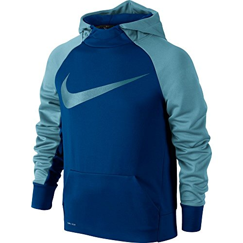 (Nike Boys' Therma Swoosh Graphic Hoodie Blue Size Large 803895-408)