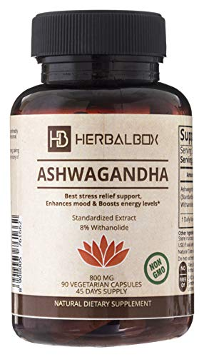 Herbalbox Ashwagandha Natural Herbal Supplement Mood Enhancer Reduces Stress Anti-Anxiety Ayurvedic 90 Vegetarian Capsule