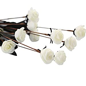 Whitegeese Artificial Roses Flowers Dahlia Rose Silk Flowers Wedding Bouquet Party Home Décor Flower Arranging Table Flower (White) 34