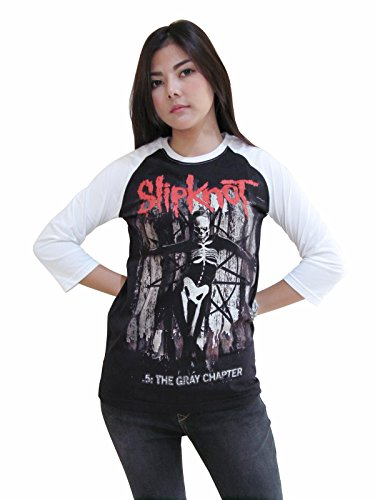 Rerock4ever Womens Slipknot Band Metal Rock Tour Raglan T-Shirt (Large)