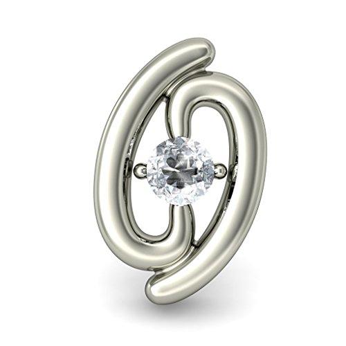 Or blanc 14K 0.116CT TW Round-cut-diamond (IJ   SI) Boucles d'oreille à tige