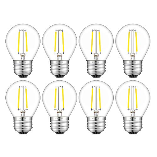 CRLight 2W 4000K LED Globe Bulb Daylight (Neutral White) 300LM, 30W Incandescent Equivalent,Replace 4W Compact Fluorescent CFL Bulbs,E26 Medium Base Dimmable LED Filament Bulb, G45 Clear Glass, 8 Pack ()