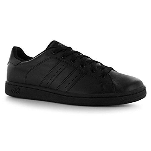 Lonsdale Heren Leyton Lederen Sneakers Full Lace-up Sport Casual Schoenen Zwart / Zwart