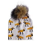 Jesse Unisex Baby Cotton Cartoon Animal Print Beanie Cap - Detachable Pompom Hat Best For Birthday Christmas Gift