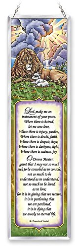 - Amia Prayer of St. Francis Assisi Beveled Glass Décor Panel, 16