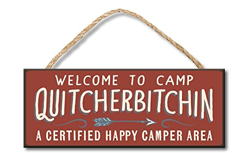 uniquepig Welcome to Camp A Certified Happy Camper Area Funny Wood Hanging Sign Decorative Plaque Wall Art 10x30 cm Gifts Sign