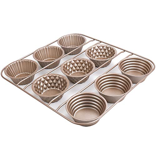 HostStyleZ 9-Cup Popover Pan - BPA Free, Food Grade, Non-stick and Easy to Clean - Making Bread, Cake, Pudding and More Dessert (10.47'' X 10.24'' X 1.18'')
