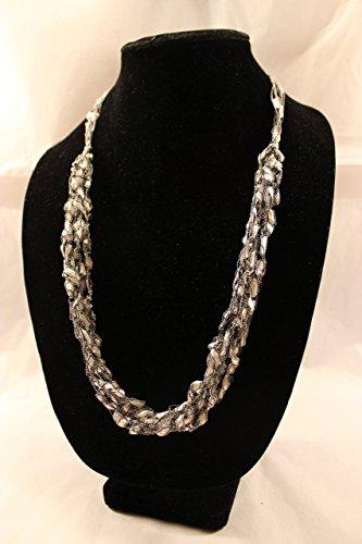 ADJUSTABLE Crochet Yarn Necklace Scarf Silver Ladder Trellis Ribbon Gift for (Trellis Scarf)