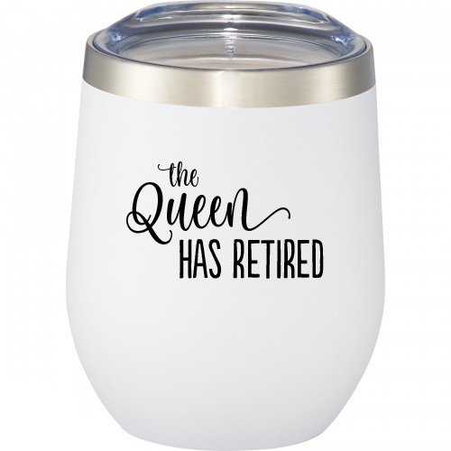 Retirement Gifts For Women - The Queen Has Retired - 12 oz Stainless Steel Stemless Wine Glass with Lid - Funny Wine Tumbler Sippy Cup for Adults - Perfect Retirement Gift for Her
