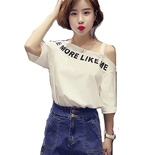 結婚した倍増政令(huanggu) フアングー 韓国ファッション 夏 tシャツ 半袖 レディースTシャツ 春 学生 ベアトップ 半袖 ゆったりTシャツ
