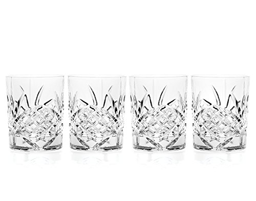 Godinger Double Old Fashioned Glasses Set of 6 - Lead-free Crystal Whiskey Glasses, Scotch Glasses Liquor Bourbon Tumblers for Scotch Whisky Drinking – 11oz. Glasses -