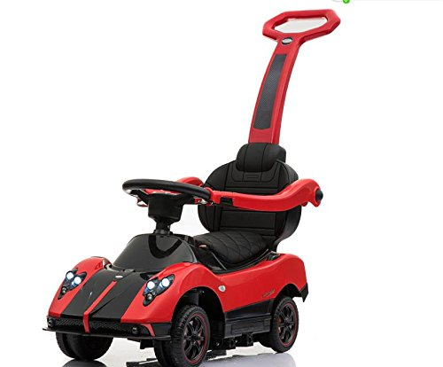 Licensed Pagani Multi Function 6V Kid Drive-able Ride on Stroller Push Car (Red) by Four Tone USA