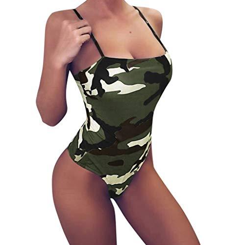Limsea Women 2019 Bathing Suit Monokini Swimwear Sexy Camouflage High Cut Strapless One Piece Funny Halter Swimsuit (Large, ZZGreen) ()