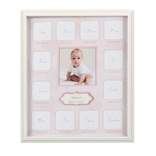 "Collage Photo Frame for Baby First Year Keepsake - Multi Picture Frames with Twelve 1.8"" and One 3.7"" Slots for Baby Present Memory Home Decoration - Pink White Made of Prime Wood Panel and Glass"