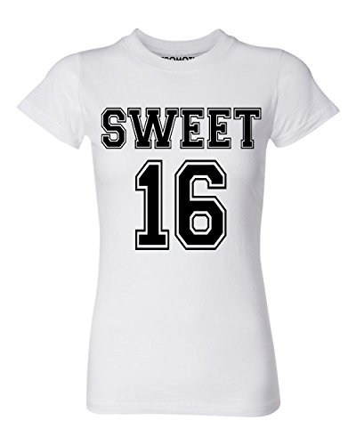 P&B Sweet 16 Birthday Women's T-Shirt, M, White -
