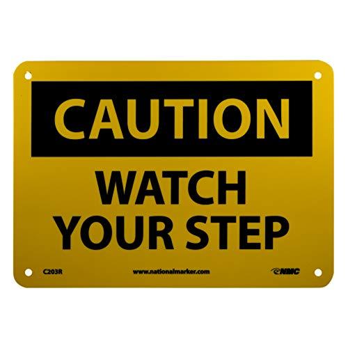 NMC C203R OSHA Sign,CAUTION WATCH YOUR STEP, 10 Width x 7 Height, Rigid Plastic, Black On Yellow