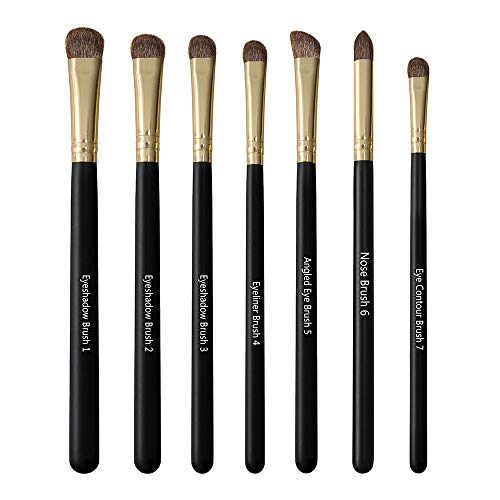 U'COVER - 7pcs Horse Hair Eye Brushes Set - Premium Makeup Brushes Set - Eyeshadow Eyeliner Blending Crease Kit- Makeup Brushes - Golden ()
