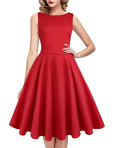 IHOT Vintage Tea Dress 1950's Floral Spring Garden Retro Swing Prom Party Cocktail Dress for Women Pure Red -