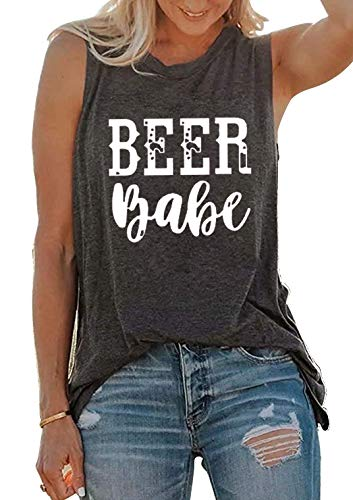 SUNFLYLIG Beer Babe Tank Tee Women's Drinking Funny Letter Sleeveless Casual T-Shirt Summer Beach Tops (Small, Grey)