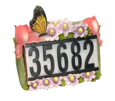 Solar Powered House Number Light w Butterfly & Flowers