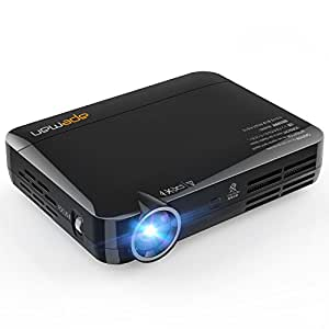 APEMAN Mini DLP Projector Home HD Video Projector 3D Small Lightweight Home Theater Support 1080P Built-in Android 4.4 OS with WiFi Bluetooth 30000 Hours LED Life 2000 Lumens