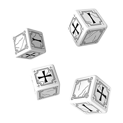 Q-Workshop: Set of 4 - Carved Ancient Fudge d6 White & Black Fudge - Black Fudge