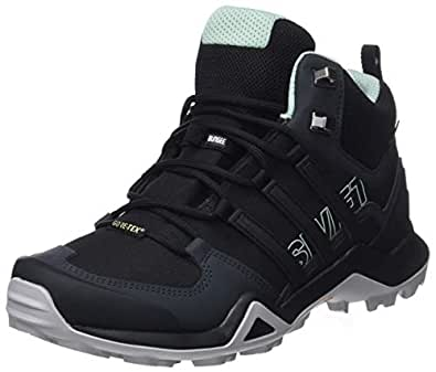 adidas, TERREX Swift R2 Mid GTX Hikings Boots, Women's Shoes, Black/Black/Ash Green, 5 US