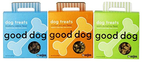 Good Dog 100% Natural Wheat & Corn Free Treats For Dogs 3 Flavor Variety Bundle: (1) Good Dog Chicken Pot Pie Flavor 100% Natural Dog Treats, (1) Good Dog Apple Dumpling Flavor 100% Natural Dog Treats, and (1) Good Dog Blueberry Cobbler Flavor 100% Natural Dog Treats, 8 Oz. Ea. (3 Boxes Total) (Dumpling Dog)