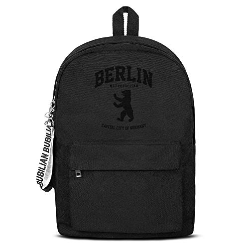 - BERLIN BEAR GERMANY Unisex Canvas Backpack Cute Satchel Small Backpack for Girls Boys
