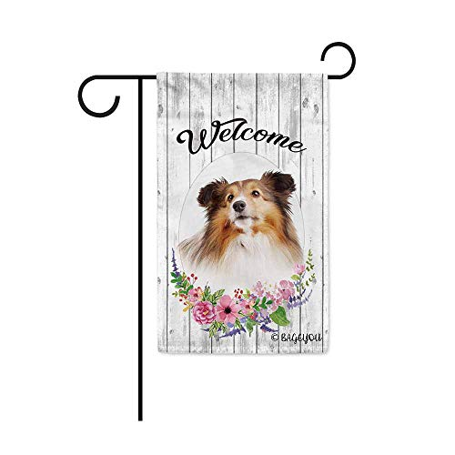 BAGEYOU Welcome Spring Summer Flowers Cute Dog Sheltie Decorative Garden Flag Lovely Puppy Floral Seasonal Home Decor Banner for Ourside 12.5X18 Inch Print Double Sided