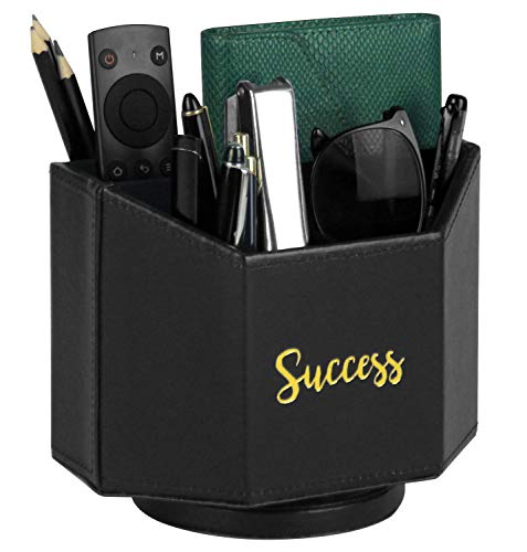 Ms.Box PU Leather Spinning Desktop Organizer, Remote Caddy, Pen Holder, 7.3X 5.5 x 6 inches, Black