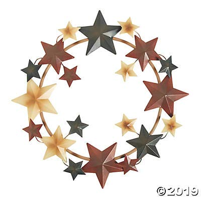 Metal Barn Star Americana Wreath for Fourth of July (14 in Diameter)