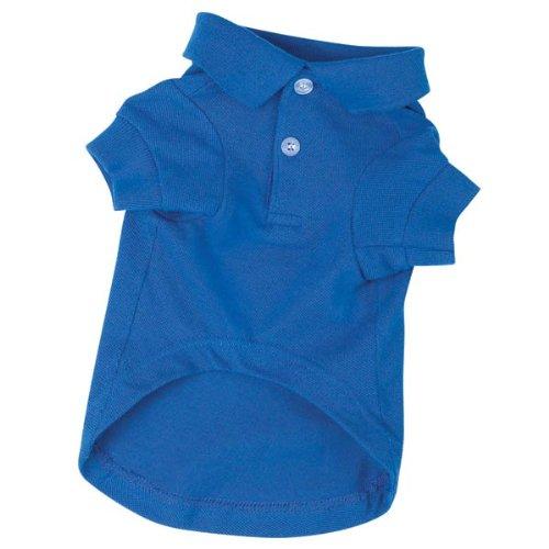 Zack & Zoey Cotton Polo Dog Shirt, XX-Small, 6-Inch, Nautical Blue