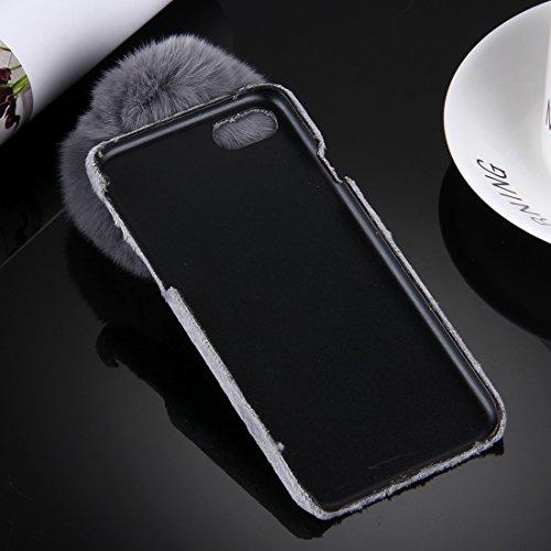 Phone Taschen & Schalen Für iPhone 6 & 6s Plus Stoffabdeckung PC Schutzhülle mit Pelzkugel Kettenanhänger ( Color : Grey )