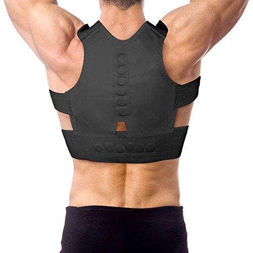Aofit 12 Magnets Pull Shoulder Straps Back Support Corrector Shoulder Posture (L 32.67'-33.07', Black)