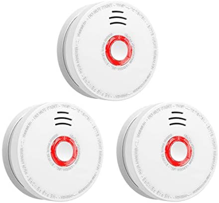 SITERWELL Smoke Detector and Fire Alarm 3 Pack DC 9V Battery Included Operated Photoelectric Smoke Alarm with Test Button, UL Listed. Fire Detector for Home Hotel etc.