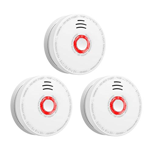 - SITERWELL Smoke Detector and Fire Alarm 3 Pack DC 9V Battery (Included) Operated Photoelectric Smoke Alarm with Test Button, UL Listed. Fire Detector for Home Hotel etc.