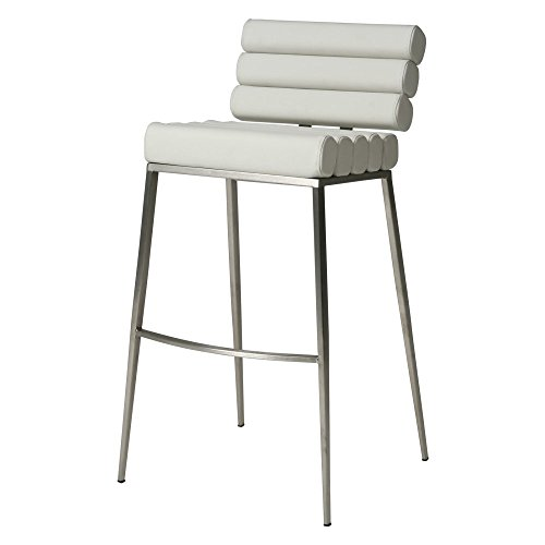 Impacterra QLFY210321978 Fuego Maya Barstool, 26″ Counter Height, Ivory/Stainless Steel