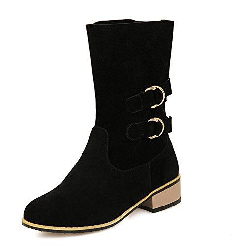 Marrón black Women hebilla hembra de HFour antideslizante usar Seasons abrasivo talón resistencia cuadrado negro botas goma gris 39 grano XIAOGANG madera de H cinturón wBtSXX